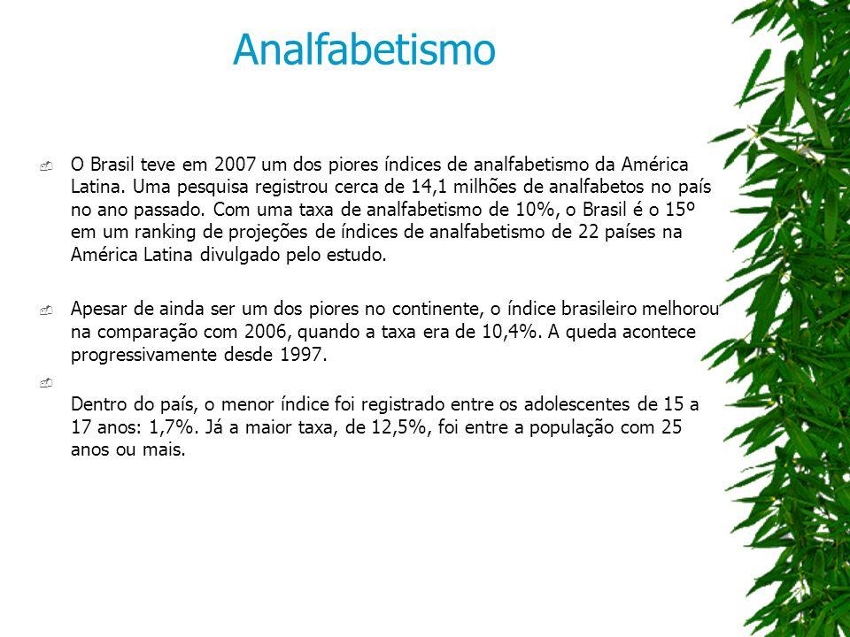O Brasil teve em 2007 um dos piores índices de analfabetismo da América Latina.