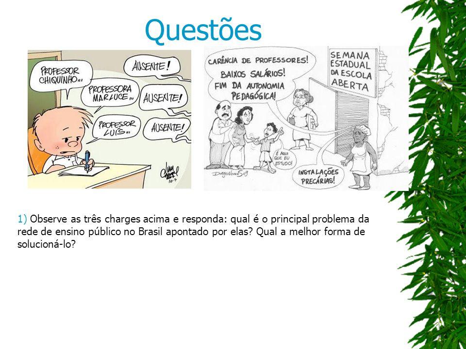 Questões 1) Observe as três charges acima e responda: qual é o principal problema da rede de ensino público no Brasil apontado por elas.