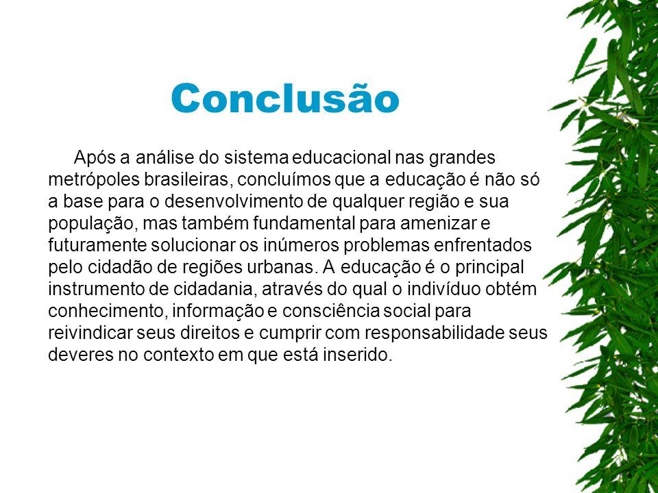 Conclusão Após a análise do sistema educacional nas grandes metrópoles brasileiras, concluímos que a educação é não só a base para o desenvolvimento de qualquer região e sua população, mas também fundamental para amenizar e futuramente solucionar os inúmeros problemas enfrentados pelo cidadão de regiões urbanas.