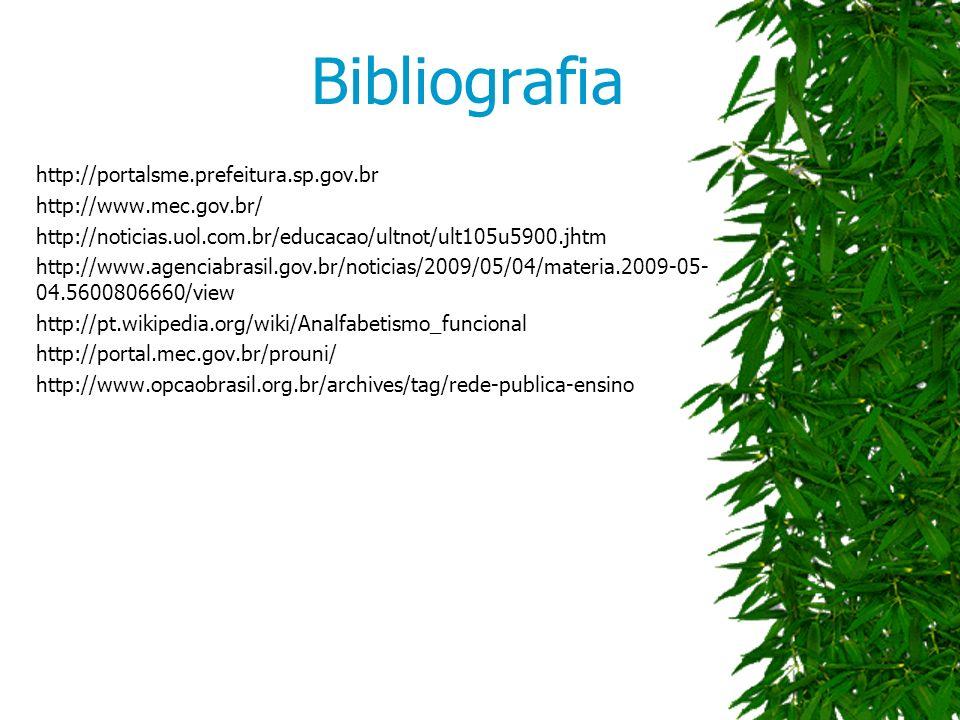 Bibliografia http://portalsme.prefeitura.sp.gov.br http://www.mec.gov.br/ http://noticias.uol.com.br/educacao/ultnot/ult105u5900.jhtm http://www.agenciabrasil.gov.br/noticias/2009/05/04/materia.2009-05- 04.5600806660/view http://pt.wikipedia.org/wiki/Analfabetismo_funcional http://portal.mec.gov.br/prouni/ http://www.opcaobrasil.org.br/archives/tag/rede-publica-ensino
