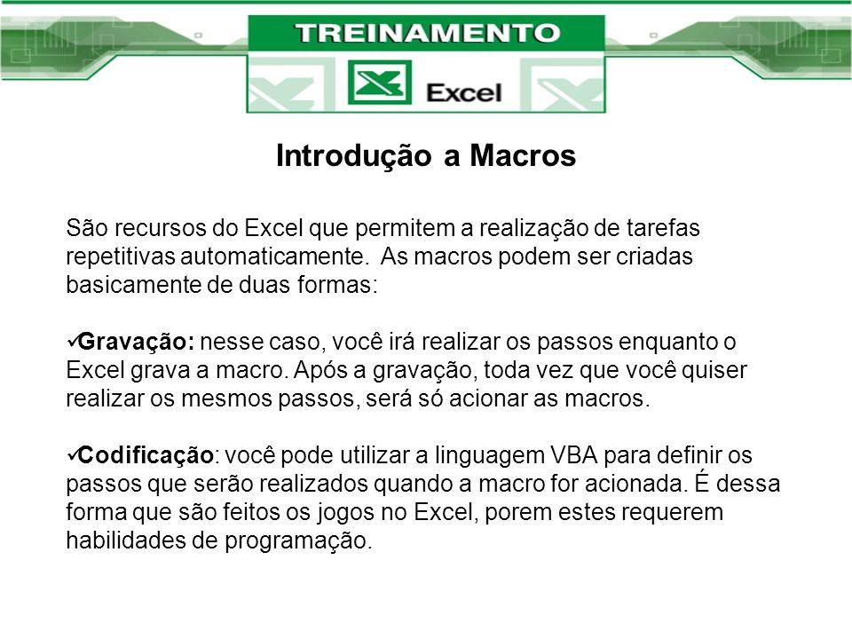 Introdução a Macros São recursos do Excel que permitem a realização de tarefas repetitivas automaticamente. As macros podem ser criadas basicamente de