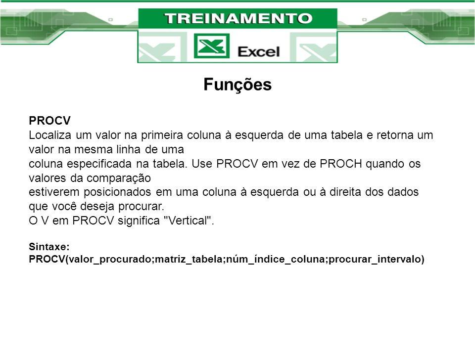 Funções PROCV Localiza um valor na primeira coluna à esquerda de uma tabela e retorna um valor na mesma linha de uma coluna especificada na tabela. Us