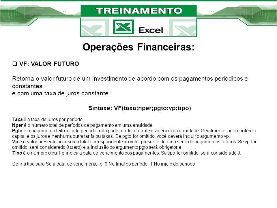 Operações Financeiras: VF: VALOR FUTURO Retorna o valor futuro de um investimento de acordo com os pagamentos periódicos e constantes e com uma taxa d