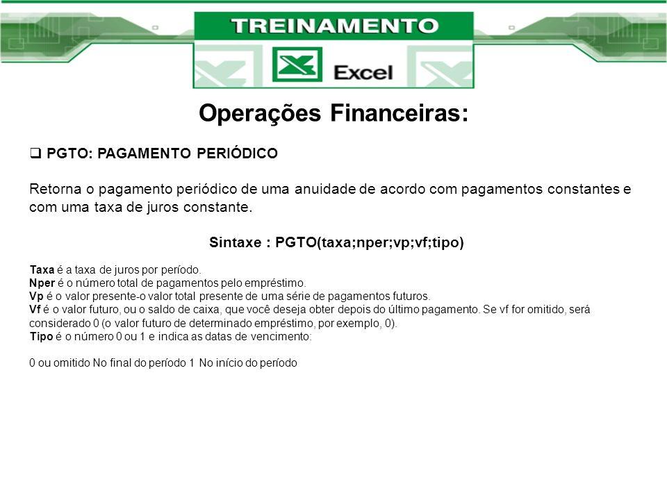 Operações Financeiras: PGTO: PAGAMENTO PERIÓDICO Retorna o pagamento periódico de uma anuidade de acordo com pagamentos constantes e com uma taxa de j