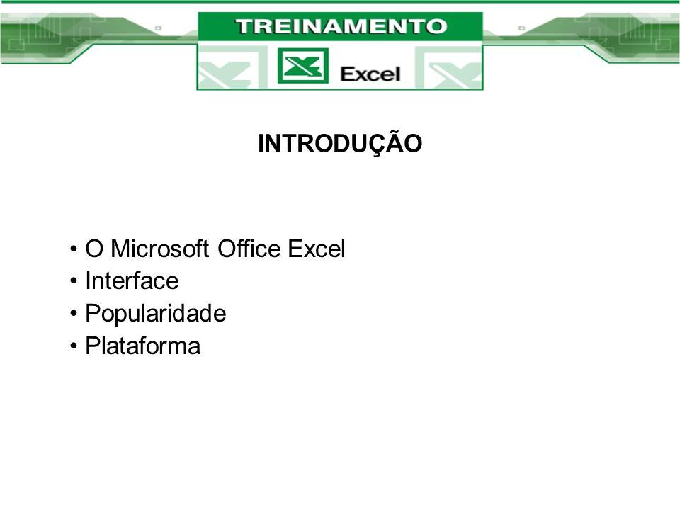 INTRODUÇÃO O Microsoft Office Excel Interface Popularidade Plataforma