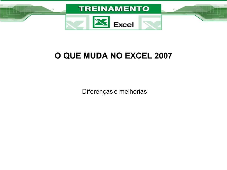 O QUE MUDA NO EXCEL 2007 Diferenças e melhorias