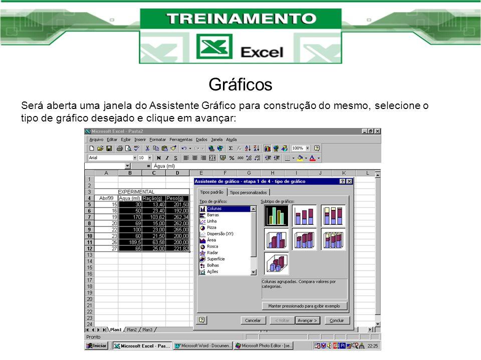 Gráficos Será aberta uma janela do Assistente Gráfico para construção do mesmo, selecione o tipo de gráfico desejado e clique em avançar: