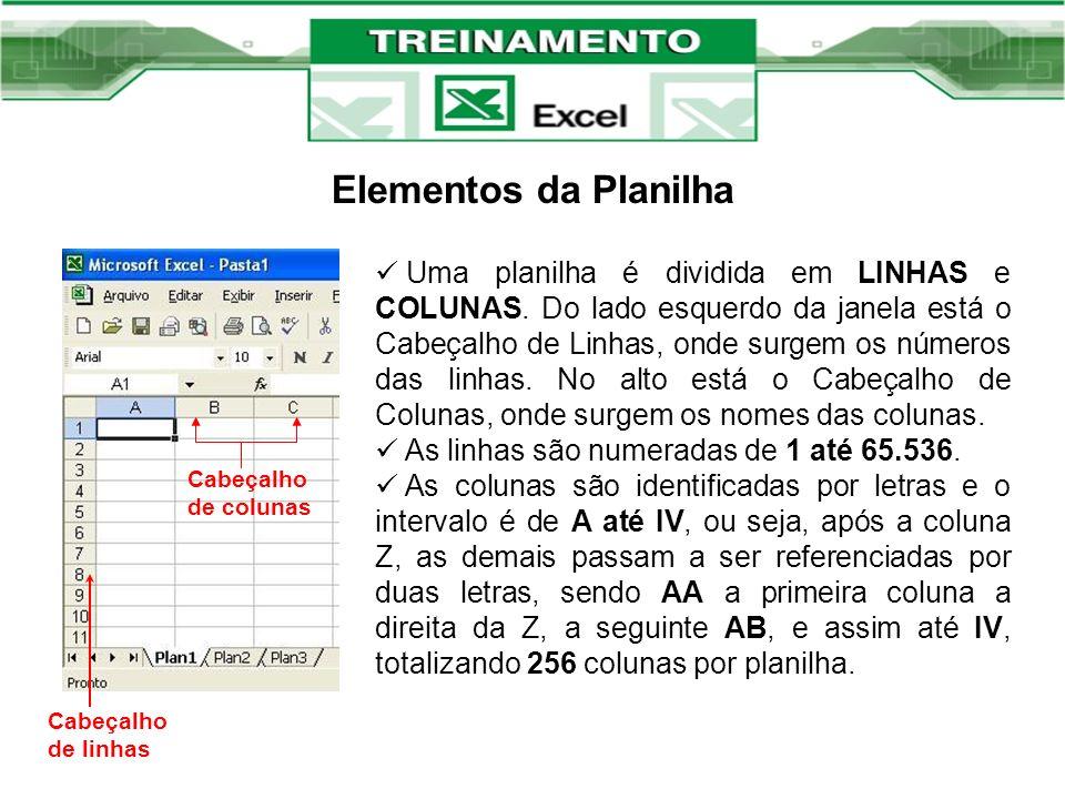 Elementos da Planilha Uma planilha é dividida em LINHAS e COLUNAS. Do lado esquerdo da janela está o Cabeçalho de Linhas, onde surgem os números das l