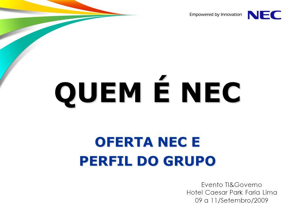 NEC Confidential Page 12 Focos da NEC no Brasil Empowered by Innovation A NEC Brasil é uma integradora de sistemas que fornece soluções completas de comunicação e tecnologia da informação.