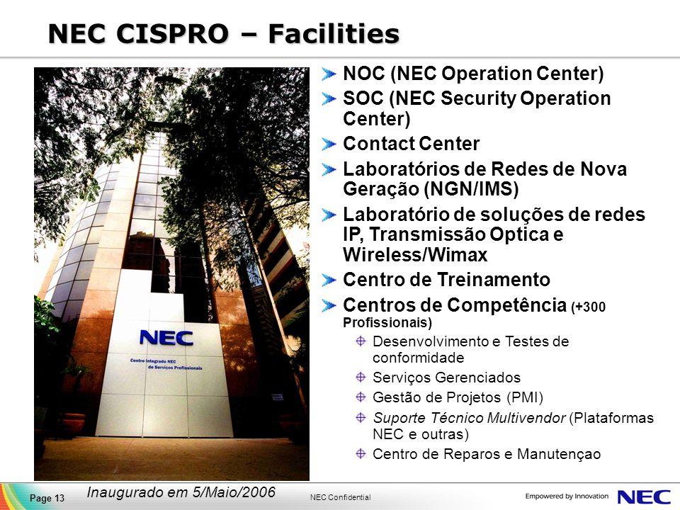 NEC Confidential Page 13 NEC CISPRO – Facilities NOC (NEC Operation Center) SOC (NEC Security Operation Center) Contact Center Laboratórios de Redes d
