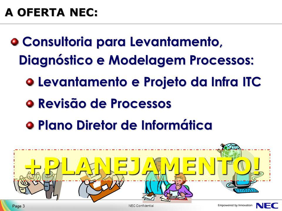 NEC Confidential Page 14 NOC (Network Operation Center) Contact Center NEC NEC Operation Center Estrutura própria composta por servidores, video wall, 19 pontos de operação, estações, sistemas de gerência e segurança física.