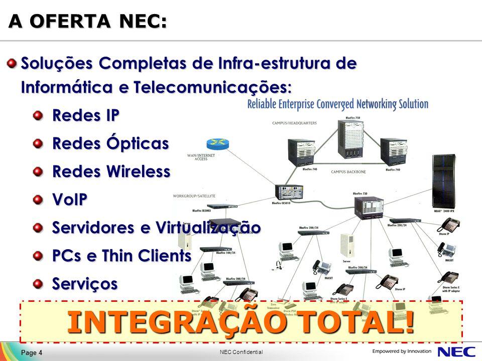 NEC Confidential Page 4 A OFERTA NEC: Soluções Completas de Infra-estrutura de Informática e Telecomunicações: Redes IP Redes IP Redes Ópticas Redes Ó