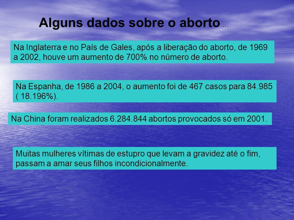 Alguns dados sobre o aborto … Muitas mulheres vítimas de estupro que levam a gravidez até o fim, passam a amar seus filhos incondicionalmente. Na Ingl
