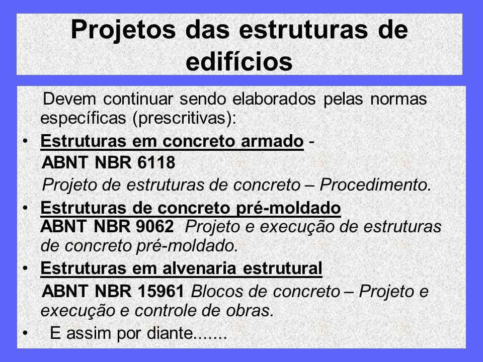 Projetos das estruturas de edifícios Devem continuar sendo elaborados pelas normas específicas (prescritivas): Estruturas em concreto armado - ABNT NB