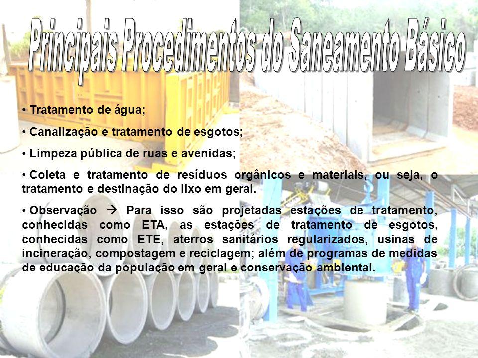 Tratamento de água; Canalização e tratamento de esgotos; Limpeza pública de ruas e avenidas; Coleta e tratamento de resíduos orgânicos e materiais, ou seja, o tratamento e destinação do lixo em geral.