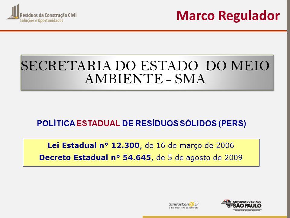 Marco Regulador Lei Estadual n° 12.300, de 16 de março de 2006 Decreto Estadual n° 54.645, de 5 de agosto de 2009 POLÍTICA ESTADUAL DE RESÍDUOS SÓLIDO