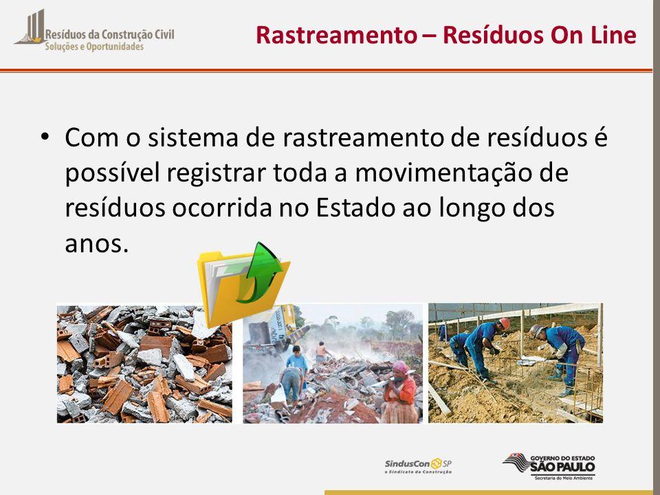 Rastreamento – Resíduos On Line Com o sistema de rastreamento de resíduos é possível registrar toda a movimentação de resíduos ocorrida no Estado ao l