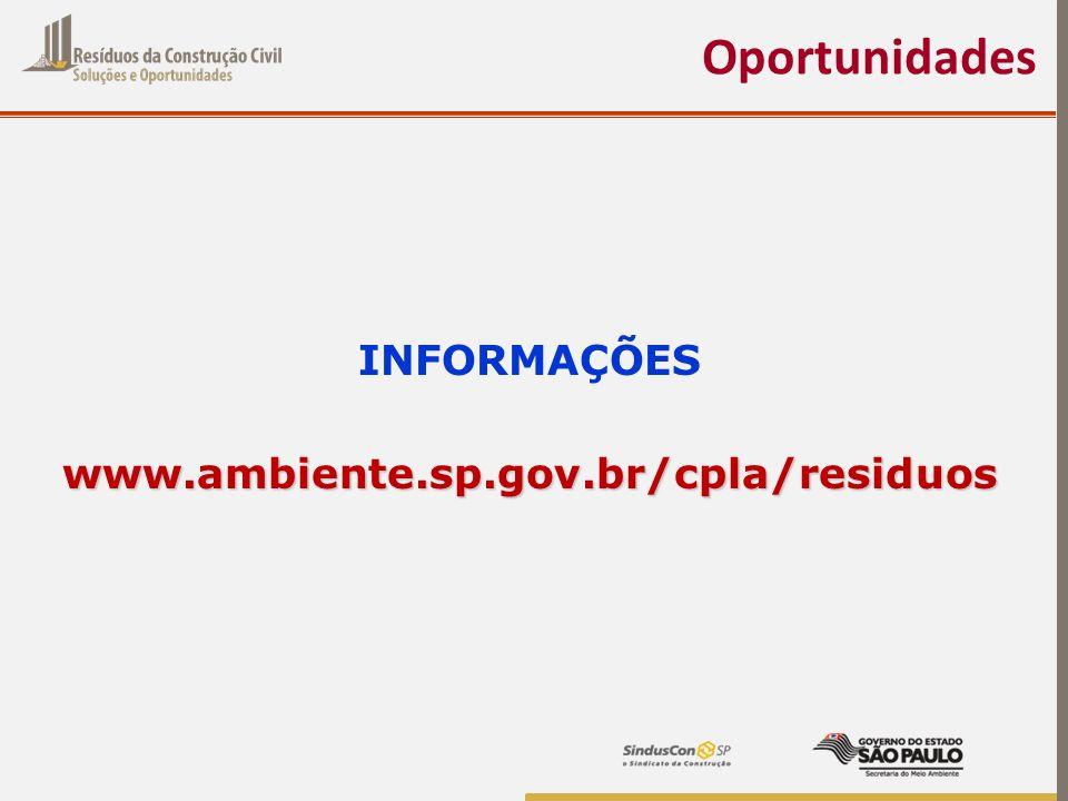Oportunidades INFORMAÇÕESwww.ambiente.sp.gov.br/cpla/residuos