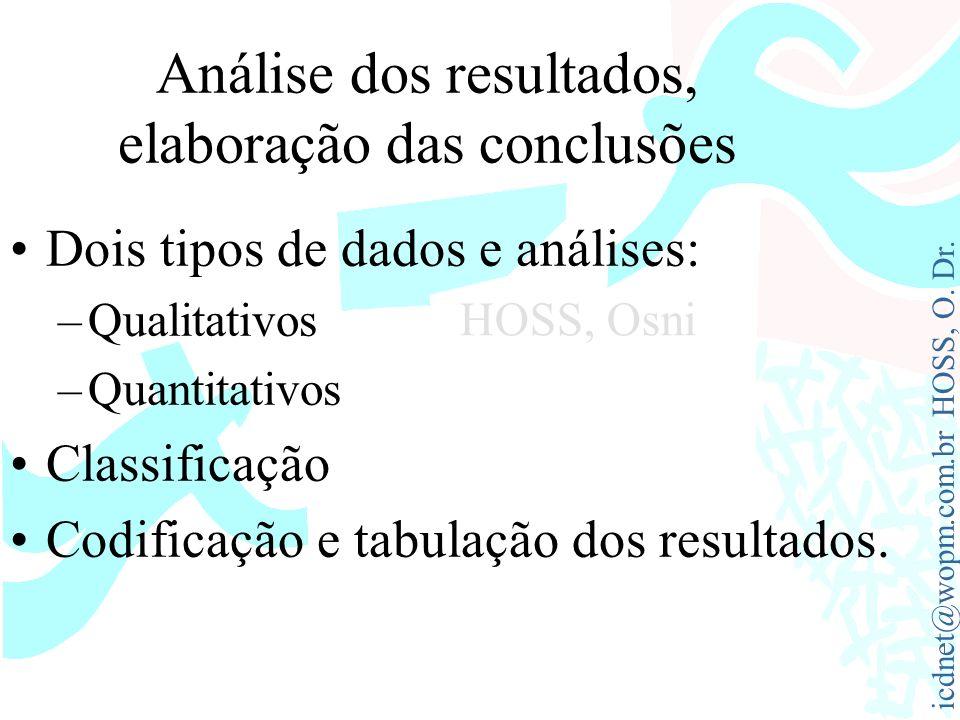 icdnet@wopm.com.br HOSS, O. Dr. HOSS, Osni Análise dos resultados, elaboração das conclusões Dois tipos de dados e análises: –Qualitativos –Quantitati