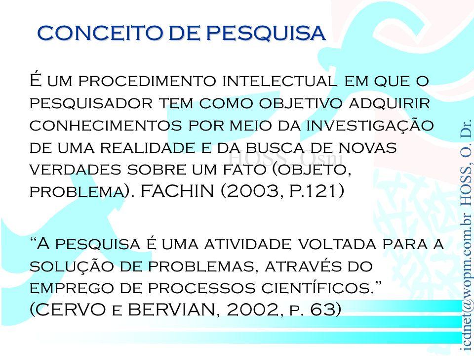 icdnet@wopm.com.br HOSS, O. Dr. HOSS, Osni É um procedimento intelectual em que o pesquisador tem como objetivo adquirir conhecimentos por meio da inv