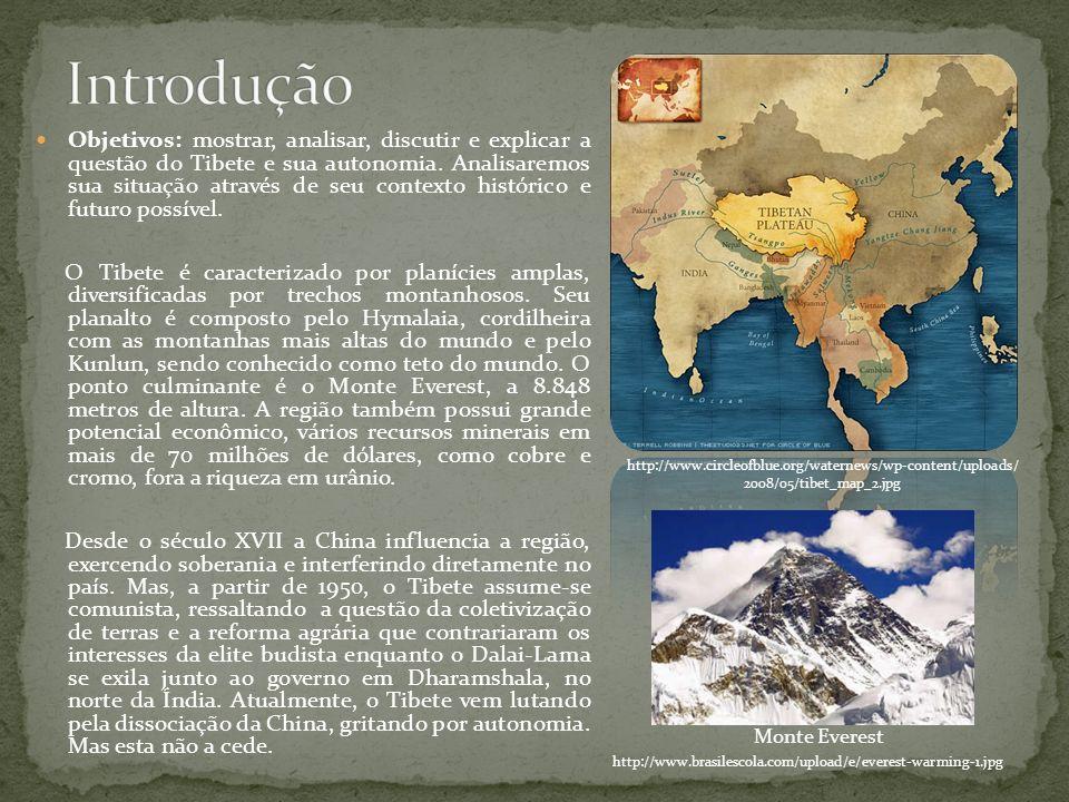 Objetivos: mostrar, analisar, discutir e explicar a questão do Tibete e sua autonomia. Analisaremos sua situação através de seu contexto histórico e f