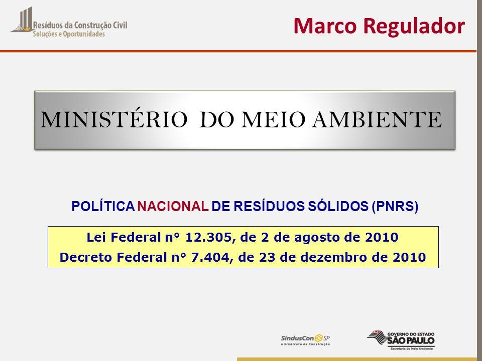 Marco Regulador MINISTÉRIO DO MEIO AMBIENTE Lei Federal n° 12.305, de 2 de agosto de 2010 Decreto Federal n° 7.404, de 23 de dezembro de 2010 POLÍTICA