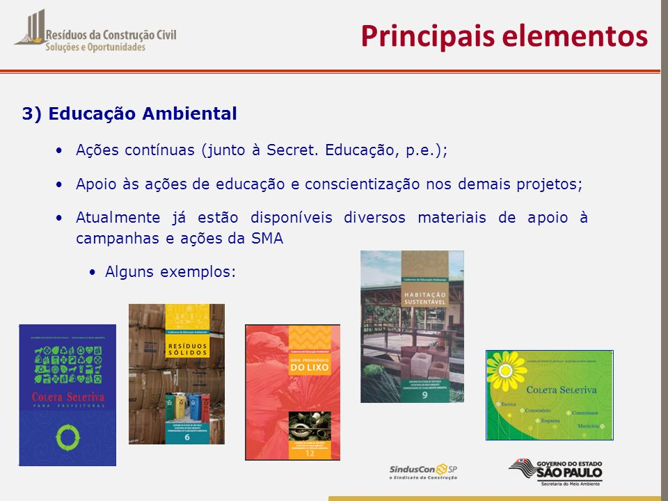 3) Educação Ambiental Ações contínuas (junto à Secret. Educação, p.e.); Apoio às ações de educação e conscientização nos demais projetos; Atualmente j