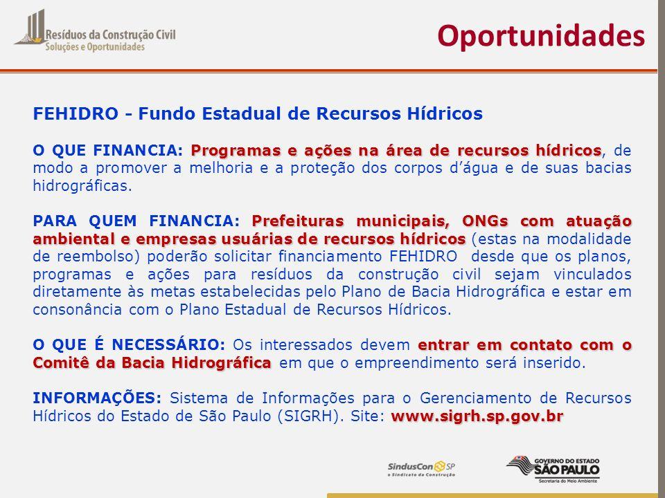 Oportunidades FEHIDRO - Fundo Estadual de Recursos Hídricos Programas e ações na área de recursos hídricos O QUE FINANCIA: Programas e ações na área d