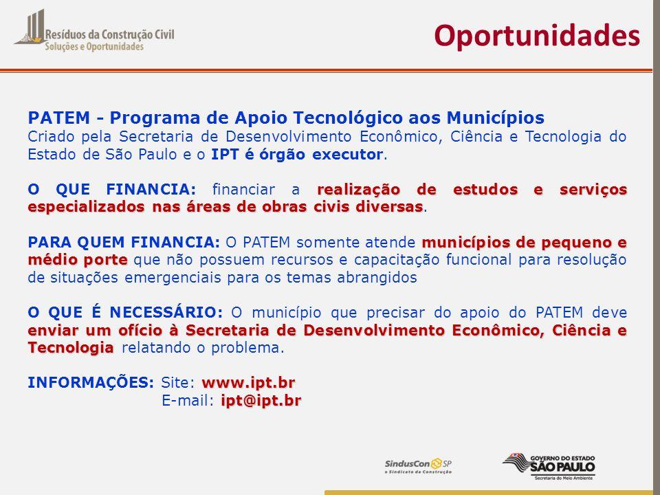 Oportunidades PATEM - Programa de Apoio Tecnológico aos Municípios Criado pela Secretaria de Desenvolvimento Econômico, Ciência e Tecnologia do Estado