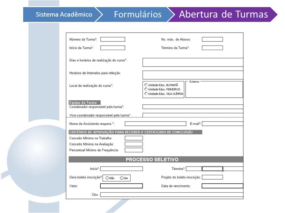 Sistema Acadêmico Formulários Abertura de Turmas