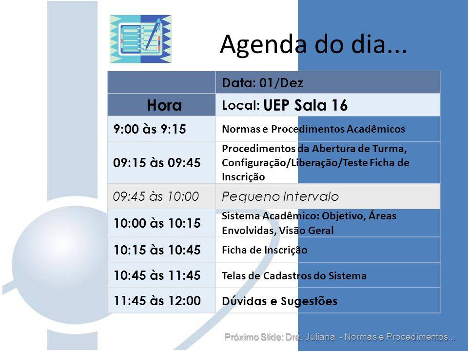 Data: 01/Dez Hora Local: UEP Sala 16 9:00 às 9:15 Normas e Procedimentos Acadêmicos 09:15 às 09:45 Procedimentos da Abertura de Turma, Configuração/Li