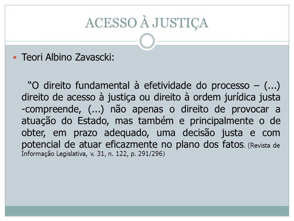 ACESSO À JUSTIÇA Teori Albino Zavascki: O direito fundamental à efetividade do processo – (...) direito de acesso à justiça ou direito à ordem jurídic