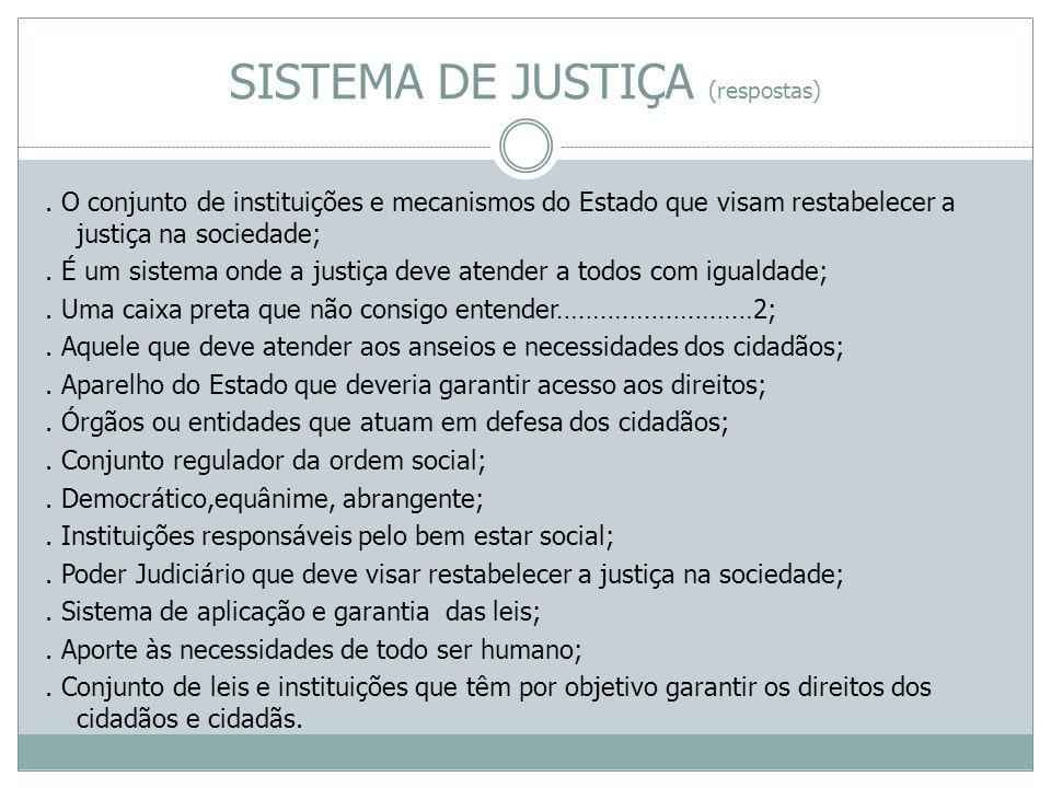 SISTEMA DE JUSTIÇA (respostas). O conjunto de instituições e mecanismos do Estado que visam restabelecer a justiça na sociedade;. É um sistema onde a