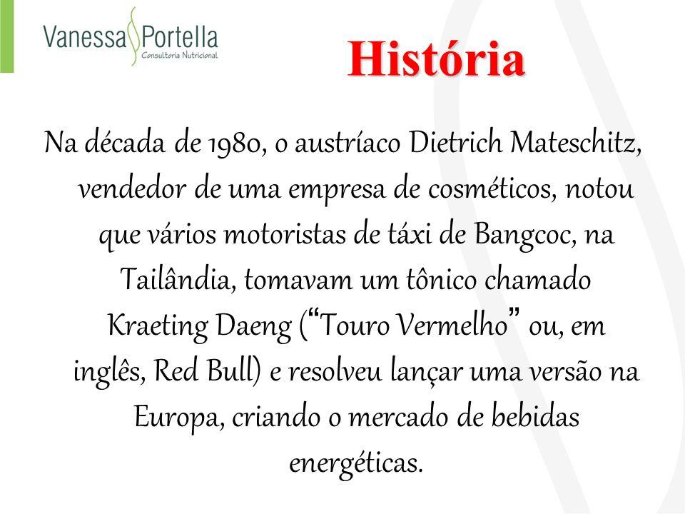 História Na década de 1980, o austríaco Dietrich Mateschitz, vendedor de uma empresa de cosméticos, notou que vários motoristas de táxi de Bangcoc, na