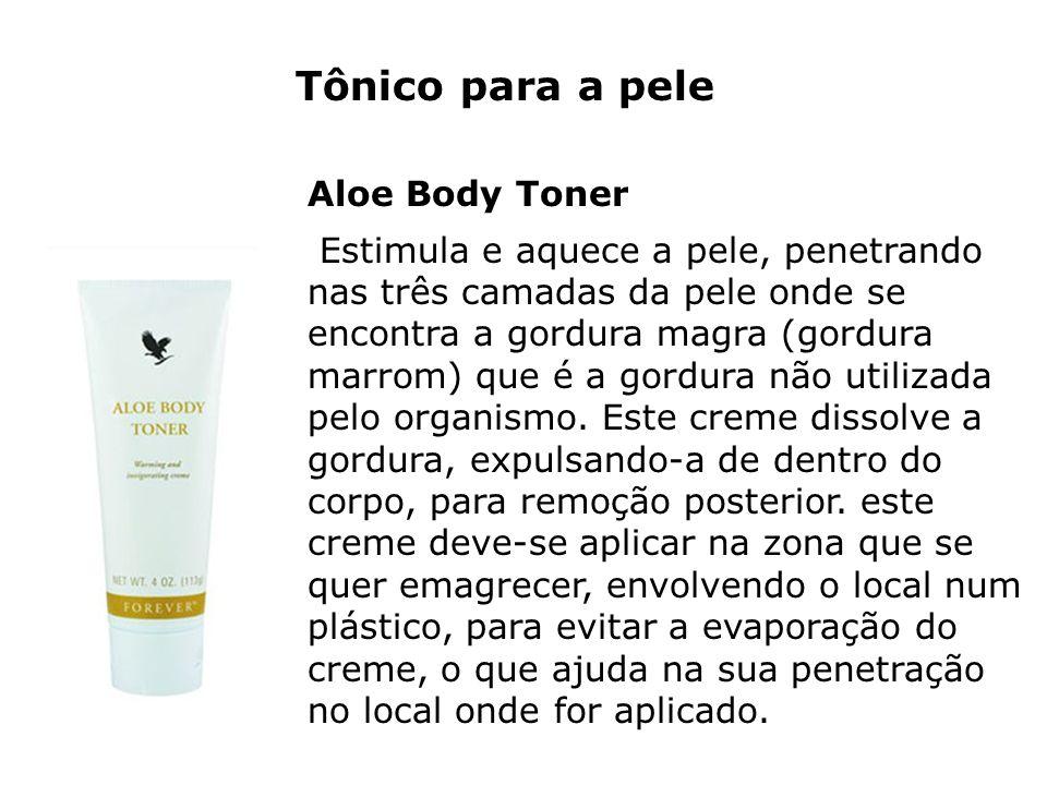 Tônico para a pele Aloe Body Toner Estimula e aquece a pele, penetrando nas três camadas da pele onde se encontra a gordura magra (gordura marrom) que