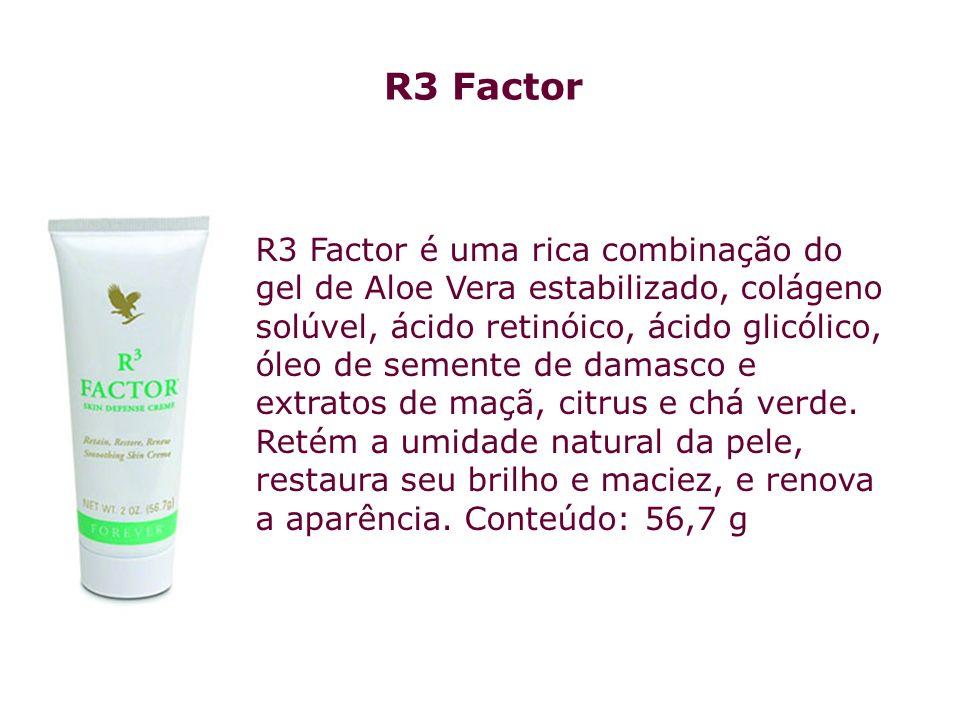 R3 Factor é uma rica combinação do gel de Aloe Vera estabilizado, colágeno solúvel, ácido retinóico, ácido glicólico, óleo de semente de damasco e ext
