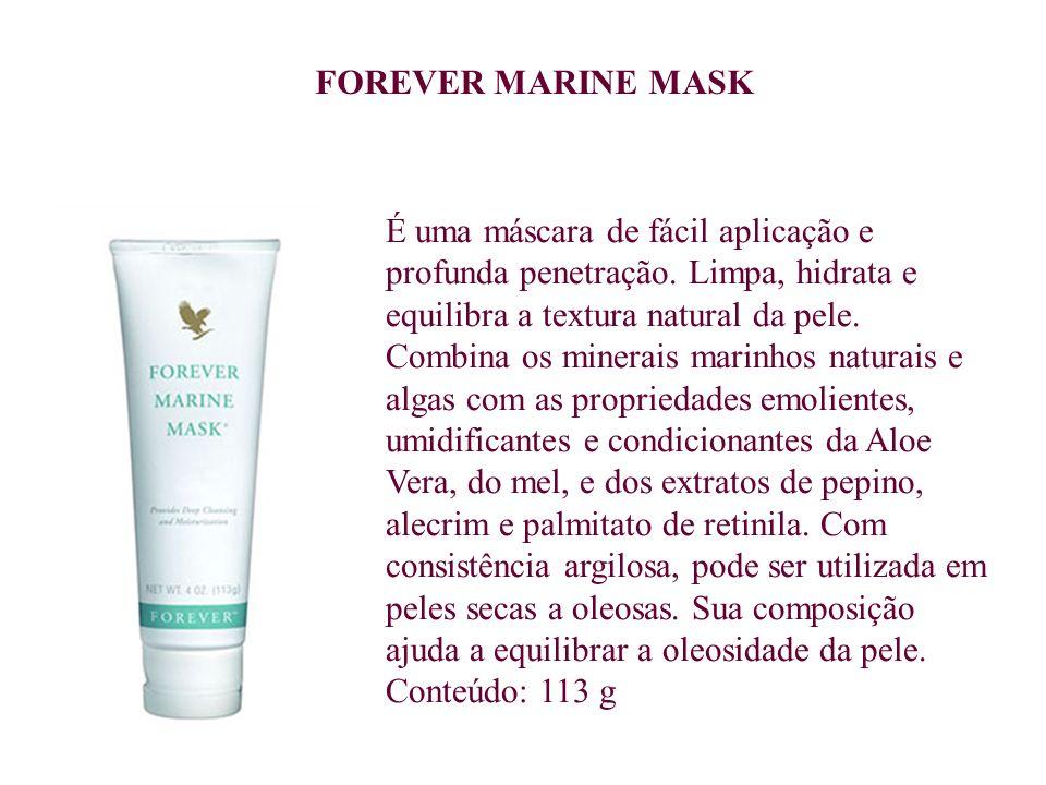 É uma máscara de fácil aplicação e profunda penetração. Limpa, hidrata e equilibra a textura natural da pele. Combina os minerais marinhos naturais e