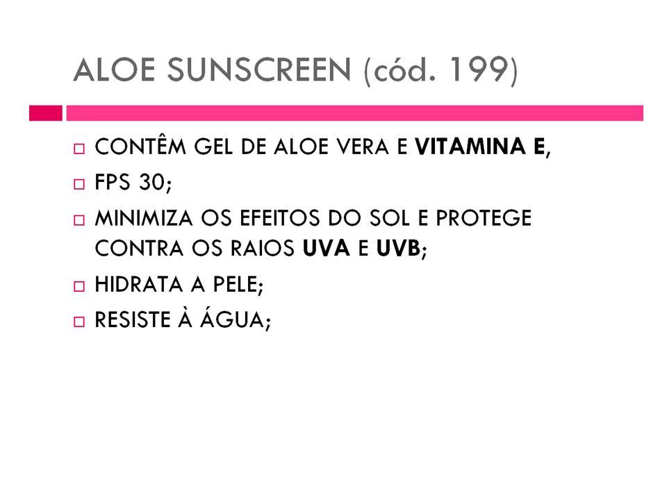 Protetor Solar Forever Aloe Sunscreen Um incrível protetor solar fator 30, resistente a água, que possui em sua fórmula 40% de gel de Aloe Vera para p