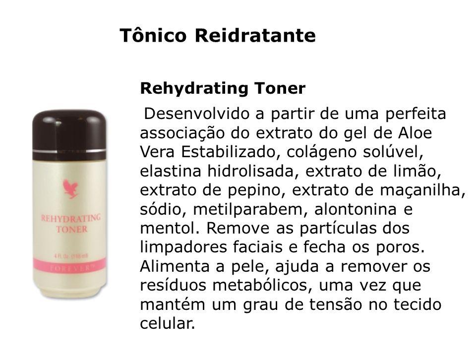 Tônico Reidratante Rehydrating Toner Desenvolvido a partir de uma perfeita associação do extrato do gel de Aloe Vera Estabilizado, colágeno solúvel, e