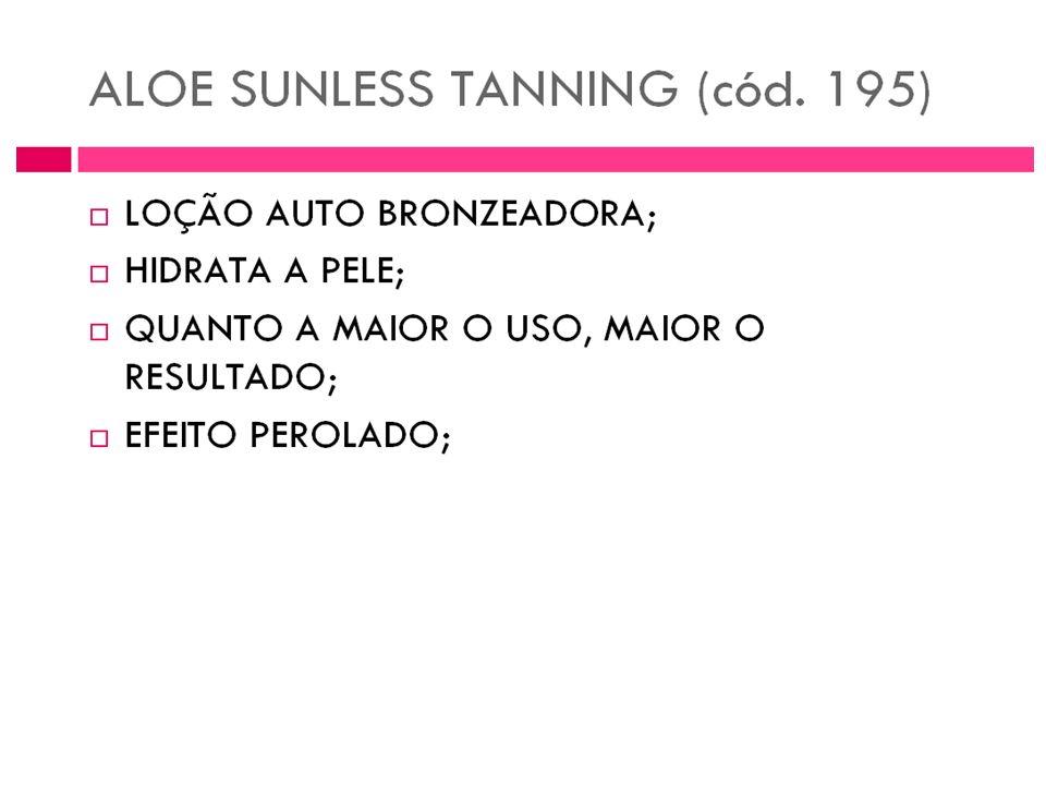 Bronzeie a sua pele sem necessidade de se expor à ação nociva dos raios solares. Aloe Sunless Tanning é uma loção à base de Aloe Vera que dá à sua pel