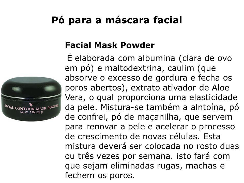 Pó para a máscara facial Facial Mask Powder É elaborada com albumina (clara de ovo em pó) e maltodextrina, caulim (que absorve o excesso de gordura e