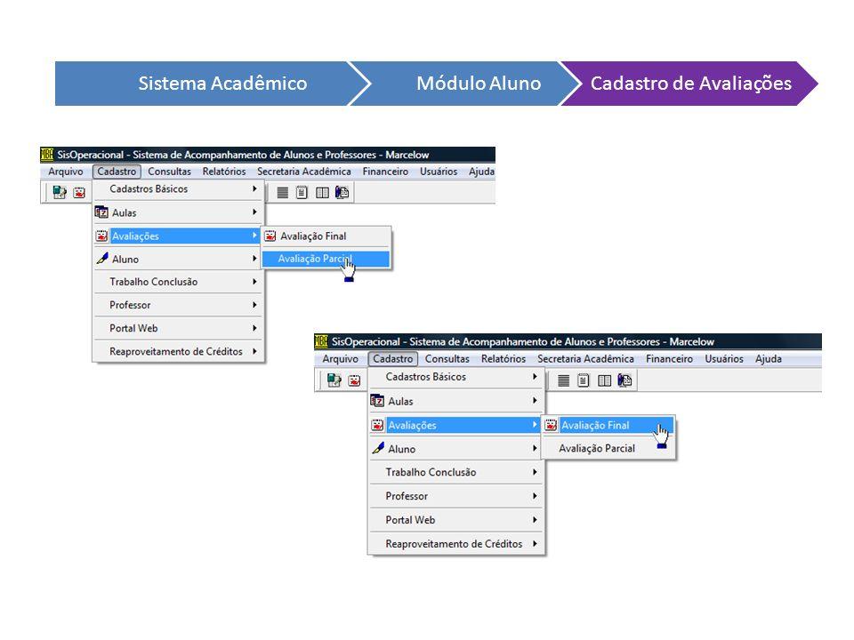 Sistema AcadêmicoMódulo AlunoCadastro de Avaliações