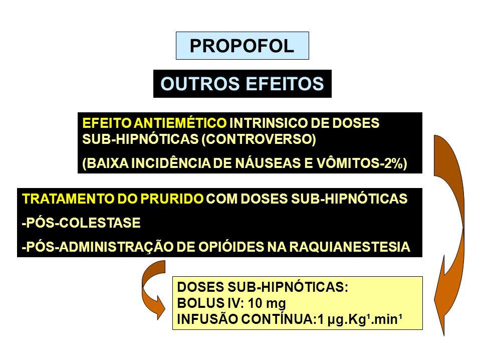 PROPOFOL OUTROS EFEITOS EFEITO ANTIEMÉTICO INTRINSICO DE DOSES SUB-HIPNÓTICAS (CONTROVERSO) (BAIXA INCIDÊNCIA DE NÁUSEAS E VÔMITOS-2%) TRATAMENTO DO P