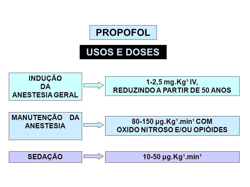 PROPOFOL USOS E DOSES INDUÇÃO DA ANESTESIA GERAL 1-2,5 mg.Kg¹ IV, REDUZINDO A PARTIR DE 50 ANOS MANUTENÇÃO DA ANESTESIA 80-150 μg.Kg¹.min¹ COM OXID