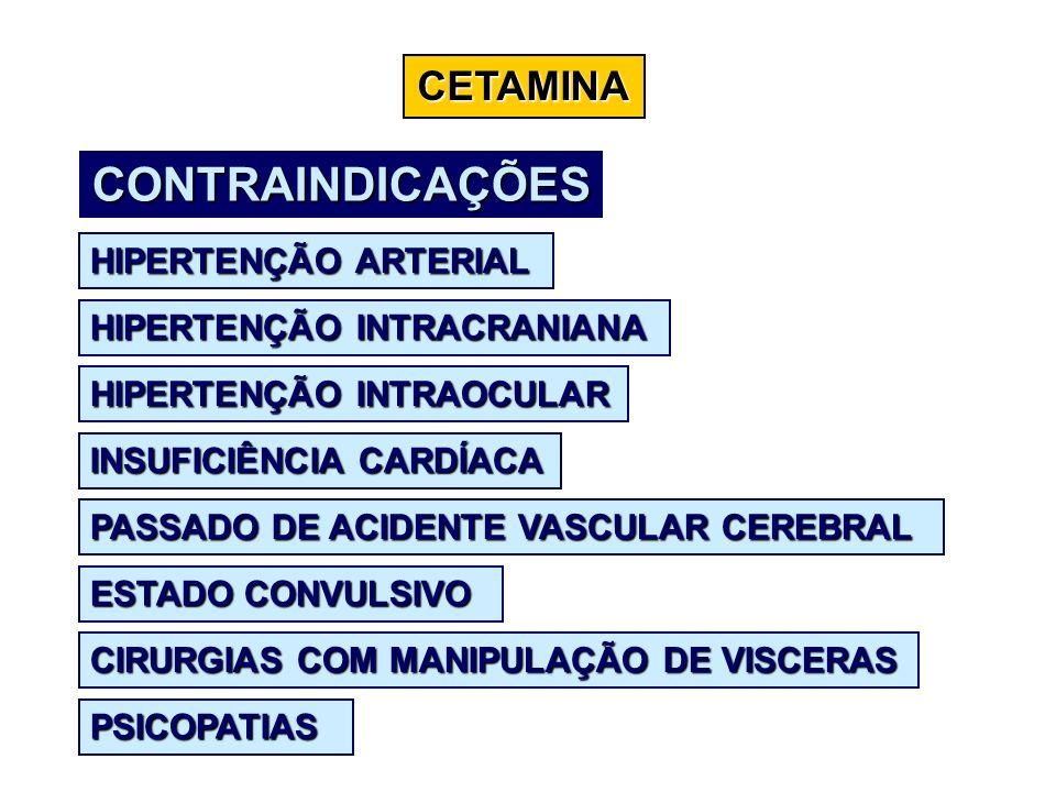 CETAMINA CONTRAINDICAÇÕES HIPERTENÇÃO ARTERIAL HIPERTENÇÃO INTRACRANIANA HIPERTENÇÃO INTRAOCULAR INSUFICIÊNCIA CARDÍACA PASSADO DE ACIDENTE VASCULAR C