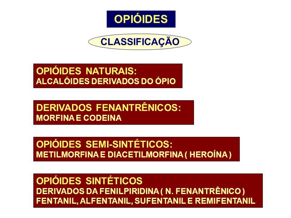 OPIÓIDES OPIÓIDES NATURAIS: ALCALÓIDES DERIVADOS DO ÓPIO DERIVADOS FENANTRÊNICOS: MORFINA E CODEINA OPIÓIDES SEMI-SINTÉTICOS: METILMORFINA E DIACETILM