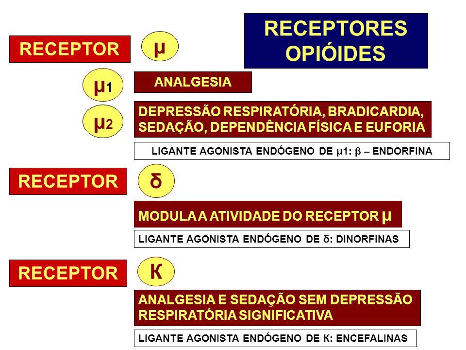RECEPTORES OPIÓIDES RECEPTOR μ1μ1 μ ANALGESIA μ2μ2 DEPRESSÃO RESPIRATÓRIA, BRADICARDIA, SEDAÇÃO, DEPENDÊNCIA FÍSICA E EUFORIA LIGANTE AGONISTA ENDÓGEN