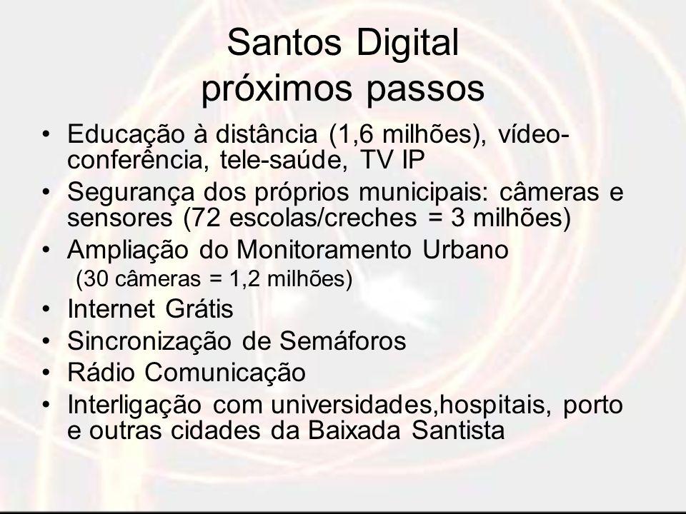 Convergência Santos Telefones e Fax Câmeras internas e externas Microcomputadores e impressoras Plotter compartilhada usuários PMS
