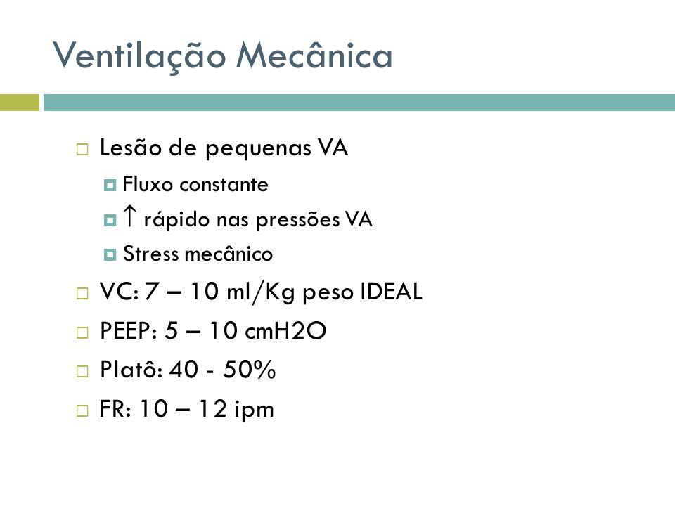 Ventilação Mecânica Lesão de pequenas VA Fluxo constante rápido nas pressões VA Stress mecânico VC: 7 – 10 ml/Kg peso IDEAL PEEP: 5 – 10 cmH2O Platô:
