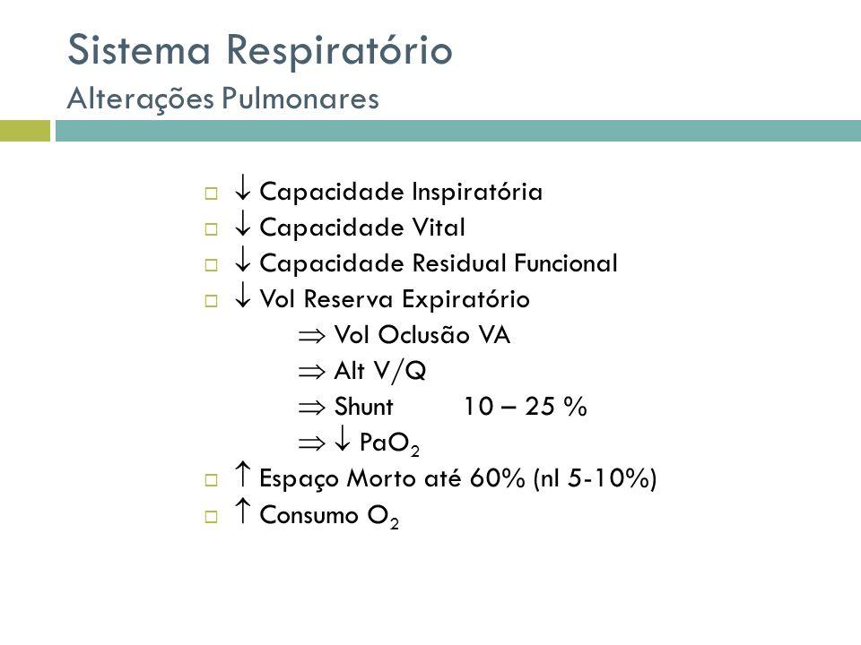 Resistência do Sistema Respiratório volumes pulmonares Condutância da VA e Vol Pulmonar Parênquima pulmonar Pequenas vias aéreas VEF1 / FRC normal Atelectasia durante VE: dano pequenas VA Stress mecânico fechamento / abertura
